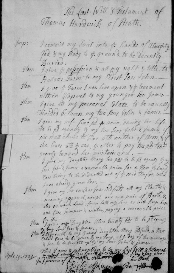 Thomas Hardwick - Will 1721 - Heath Derbyshire